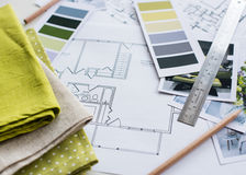 interior-designers-working-table-designer-s-architectural-plan-house-color-palette-furniture-fabric-samples-59300625
