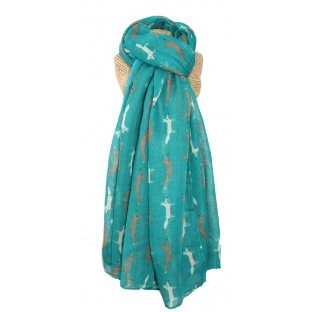 scarf turquoise fox