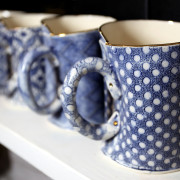 Vanessa Conyers Mugs 2 Parisian Blue Collection stand C-E19