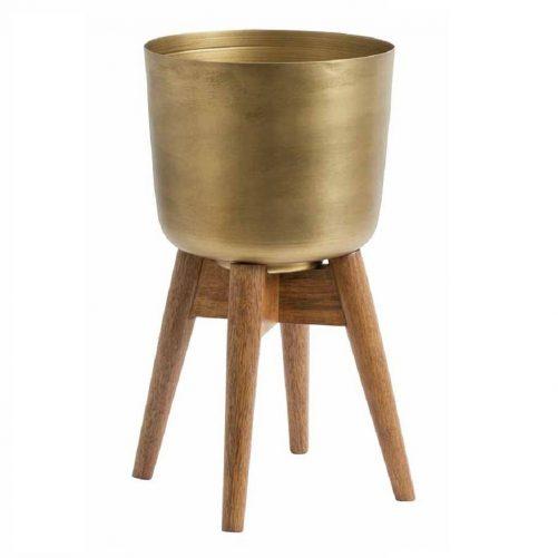 original_brass-look-wood-planter-on-stand