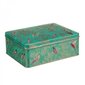 Sara Miller Green Rectangular Tin Bird Print